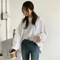 QNIGIRLS - Drop-Shoulder Colored T-Shirt
