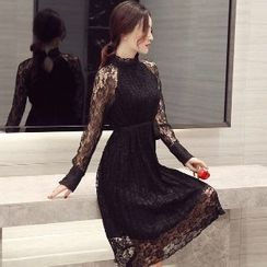Romantica - Long-Sleeve Lace Midi Dress
