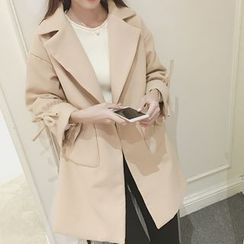 Bloombloom - Plain Notch Lapel Woolen Coat