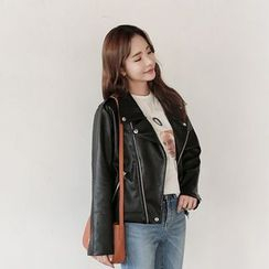 Seoul Fashion - Faux-Leather Biker Jacket
