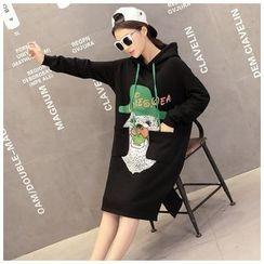 Dream Girl - Long-Sleeve Print Hooded Pullover Dress