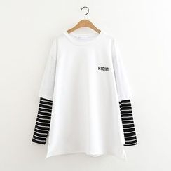 MAOMAO - Stripe Panel Long-Sleeve T-shirt
