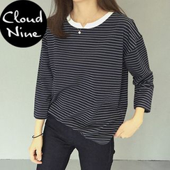 Cloud Nine - 3/4-Sleeve Striped T-Shirt