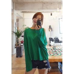 BBORAM - Cutout-Shoulder Long-Sleeve T-Shirt