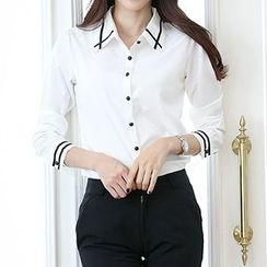 Athena - Long-Sleeve Contrast-Trim Blouse