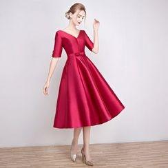 Loree - V-neck Elbow-Sleeve Evening Dress