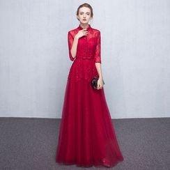 Loree - Stand-collar Elbow-Sleeve Evening Dress