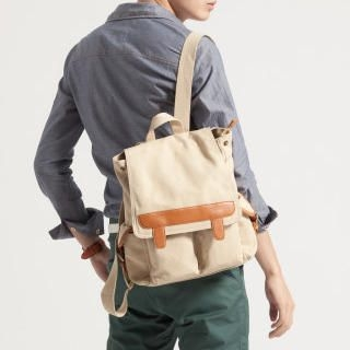 K-Style - Faux-Leather Trim Canvas Backpack