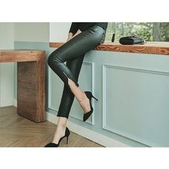 UUZONE - Coated Skinny Pants