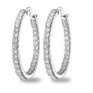 MaBelle - 18K White Gold Diamond Earrings