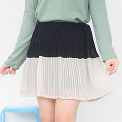 59 Seconds - Two-Tone Accordion Pleat Chiffon Skirt