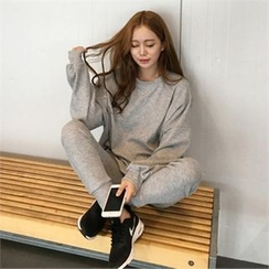 QNIGIRLS - Set: Drop-Shoulder Pullover + Sweat Pants