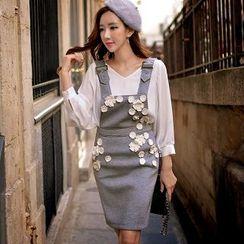 Dabuwawa - Applique Flower Jumper Skirt