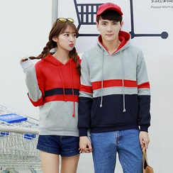 Evolu Fashion - Couple Matching Colour Block Hoodie