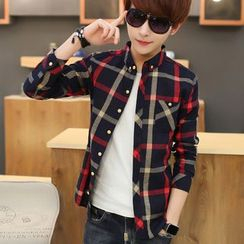 Bay Go Mall - Pocket-Front Plaid Shirt