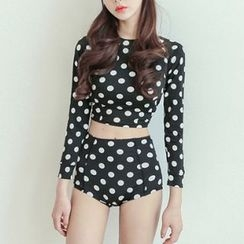 DJ Design - Set: Dotted Rashguard + High Waist Bikini Bottom