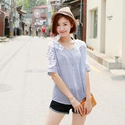 CLICK - Elbow-Sleeve Lace-Trim Pinstripe Top