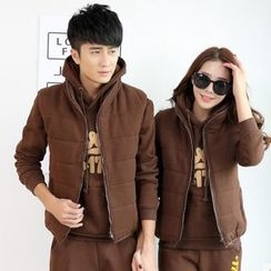 belle epoque - Couple Matching Set: Letter Applique Hoodie + Padded Vest + Drawstring Sweatpants