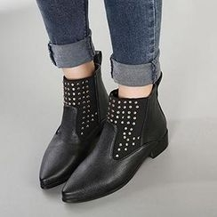 Mancienne - Faux-Leather Studded Ankle Boots