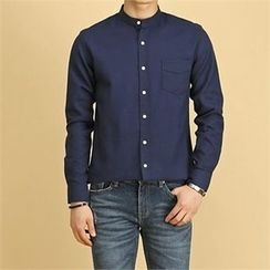 THE COVER - Mandarin-Collar Pocket-Front Shirt