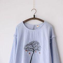 Bonbon - Long-Sleeve Embroidered Top