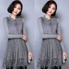 Crista - Furry Panel Lace Sheath Dress