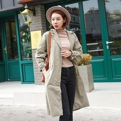 Seoul Fashion - Hidden-Button Cotton Trench Coat