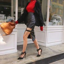 DABAGIRL - Cutout-Side Coated Midi Pencil Skirt