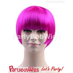 Party Wigs - PartyBobWigs - Party Short Bob Wig - Neon Violet