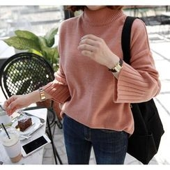 Miamasvin - Mock-Neck Colored Knit Top