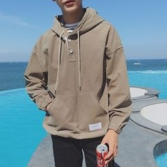 Soulcity - Buttoned Plain Hoodie