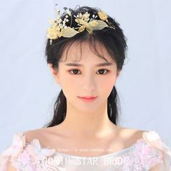 Neostar - Bridal Flower Faux Pearl Tiara