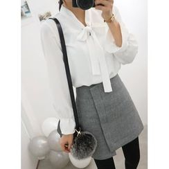 hellopeco - Long-Sleeve Tie-Front Blouse