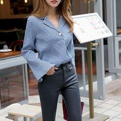 DABAGIRL - Notched-Collar Slit-Cuff Gingham Shirt