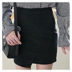 Sechuna - Band-Waist Asymmetric-Hem Skirt