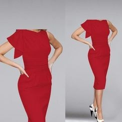 Forest Of Darama - Ruffle Shirred Sheath Dress