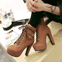 Sleeko - Buckled Lace-Up Ankle Boots