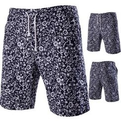 Hansel - Floral Print Drawstring Waist Shorts