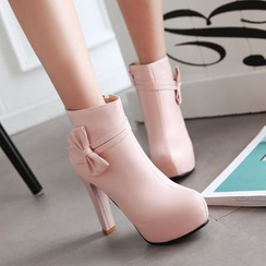 Sleeko - High-Heel Bow Accent Ankle Boots
