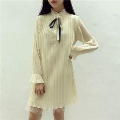 Octavia - Frill Trim Pleated Chiffon Dress