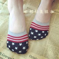 NANA Stockings - Striped Star No Show Socks