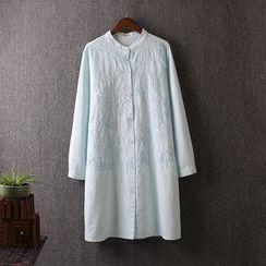 Blue Rose - Linen Embroidered Long Shirt