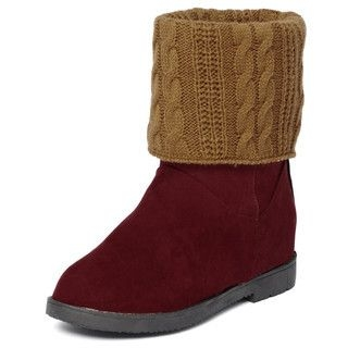 yeswalker - Knit Panel Fold-Over Short Boots