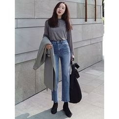 maybe-baby - Fray-Hem Straight-Cut Jeans