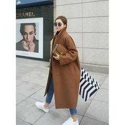 STYLEBYYAM - Wool Blend Peaked-Lapel Coat