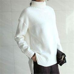 YOOM - Wool Blend Turtle-Neck Knit Top