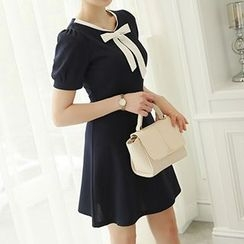 Q.C.T - Bow Short-Sleeve A-Line Dress
