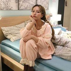 Bodacious! - Pajama Set: Lace-Trim Fleece Top + Pants