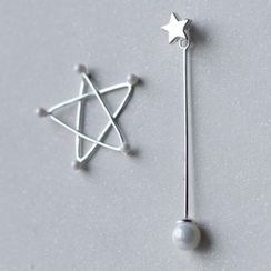 A'ROCH - 925 Sterling Silver Non-matching Star Drop Earrings