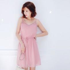 Tokyo Fashion - Sleeveless Crochet-Panel Dress